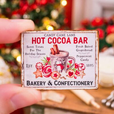 Dollhouse Miniature Candy Cane Lane Hot Cocoa Bar Sign - 1:12 Dollhouse Miniature Christmas Sign