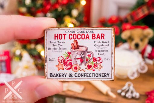 Dollhouse Miniature Candy Cane Lane Hot Cocoa Bar Sign - 1:12 Dollhouse Miniature Christmas Sign