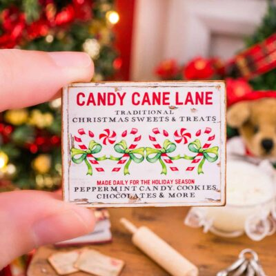 Dollhouse Miniature Candy Cane Lane Sign - 1:12 Dollhouse Miniature Christmas Sign