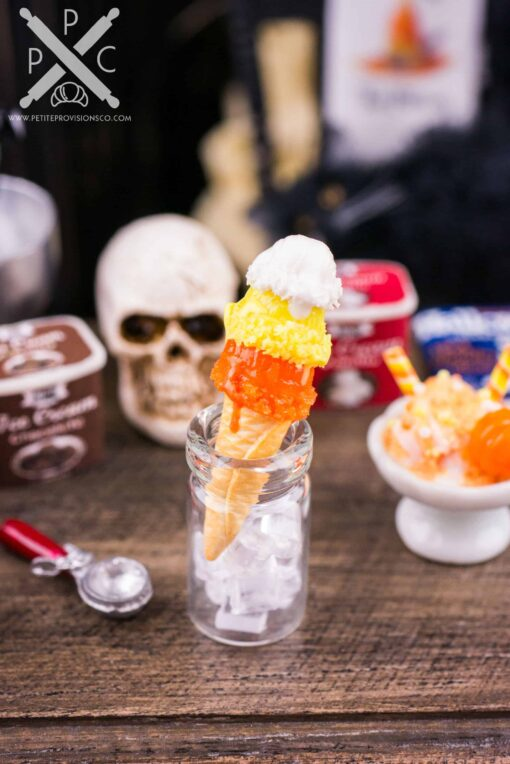 Dollhouse Miniature Candy Corn Halloween Ice Cream Cone Triple Scoop - 1:12 Dollhouse Miniature Halloween Ice Cream
