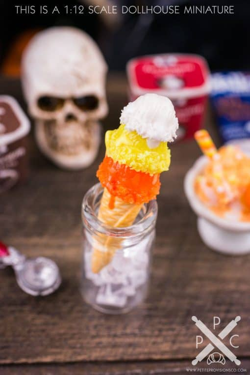 Dollhouse Miniature Candy Corn Halloween Ice Cream Cone Triple Scoop - 1:12 Dollhouse Miniature Halloween Ice Cream