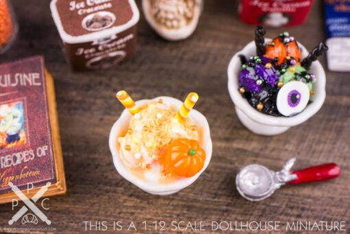 Dollhouse Miniature Candy Corn Ice Cream Sundae - 1:12 Dollhouse Miniature Halloween Ice Cream
