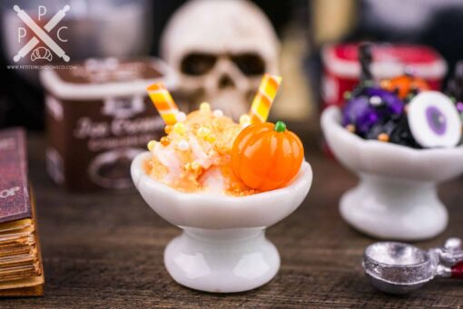Dollhouse Miniature Candy Corn Ice Cream Sundae - 1:12 Dollhouse Miniature Halloween Ice Cream