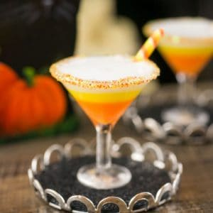 Halloween Candy Corn Martini with a Candy Twist on Tray