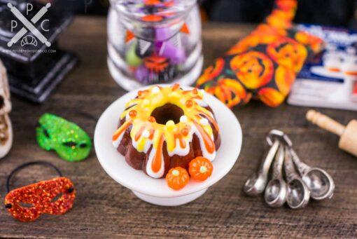 Dollhouse Miniature Halloween Candy Corn and Pumpkins Bundt Cake - 1:12 Dollhouse Miniature - Miniature Halloween
