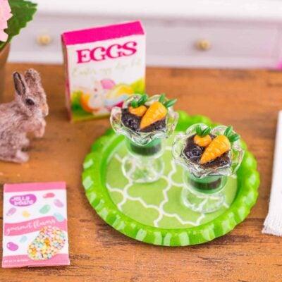 Dollhouse Miniature Carrot Patch Parfaits on Tray - 1:12 Dollhouse Miniature Easter Food - Easter Miniatures