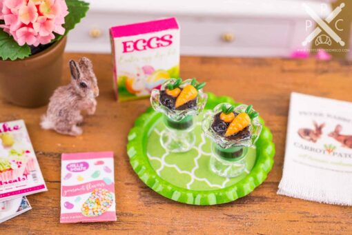 Dollhouse Miniature Carrot Patch Parfaits on Tray - 1:12 Dollhouse Miniature Easter Food - Easter Miniatures
