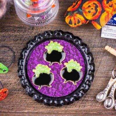 Dollhouse Miniature Bubbling Cauldron Cookies on Tray - 1:12 Dollhouse Miniature Halloween Cookies