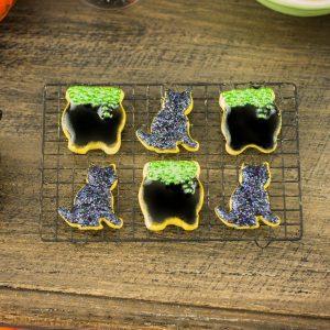Bubbling Cauldrons and Black Cats Halloween Cookies – Half Dozen