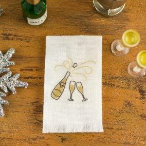 Champagne New Year's Tea Towel