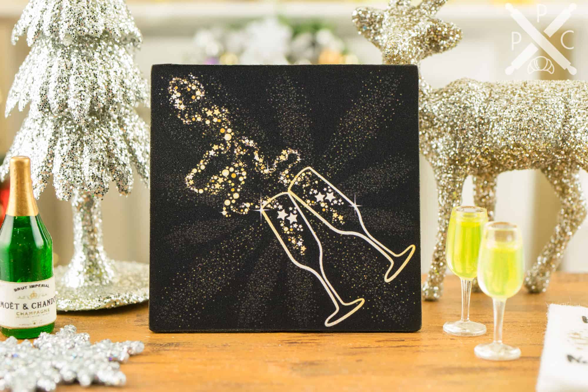 miniature new year s eve champagne toast sign 1 12 dollhouse
