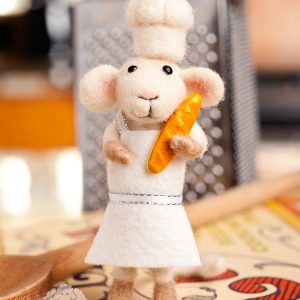 Chauncy the Chef – Needle Felted Mouse Chef with Baguette
