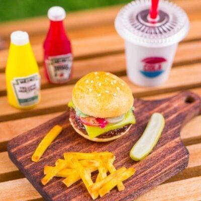 Dollhouse Miniature Cheeseburger, Fries and Pickle on Board - 1:12 Dollhouse Miniature Burger Set