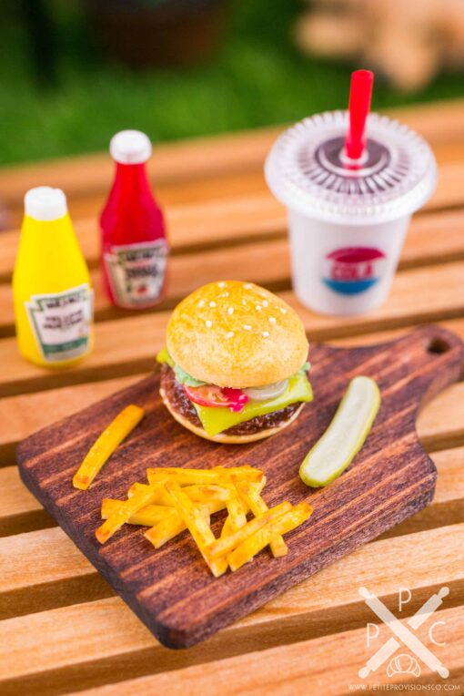 Dollhouse Miniature Cheeseburger, Fries and Pickle on Board - 1:12 Dollhouse Miniature Burger Set