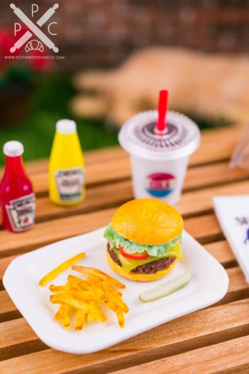 Dollhouse Miniature Cheeseburger, Fries and Pickle Platter - 1:12 Dollhouse Miniature Burger Set