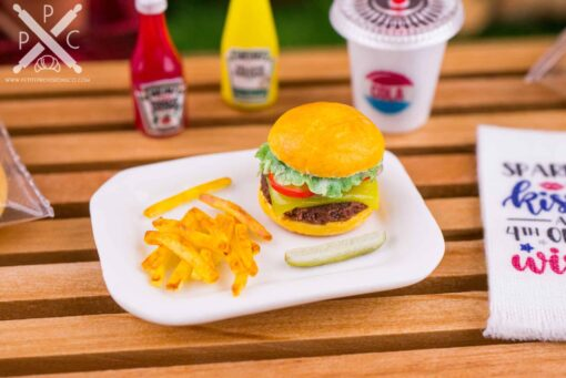Dollhouse Miniature Cheeseburger, Fries and Pickle Platter - 1:12 Dollhouse Miniature Burger Set