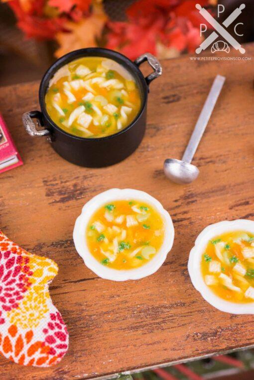Dollhouse Miniature Chicken Noodle Soup Bowls - 1:12 Dollhouse Miniature - Fall Miniatures