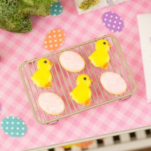 Chicks and Easter Eggs Cookies – Half Dozen – 1:12 Dollhouse Miniature