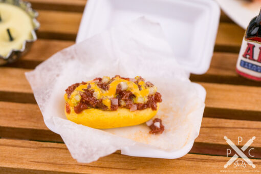 Dollhouse Miniature Chili Cheese Dog in Takeout Container - 1:12 Dollhouse Miniature Hot Dog