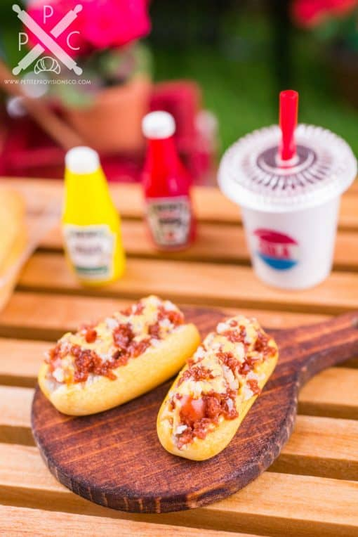 Dollhouse Miniature Chili Cheese Dogs on Board - 1:12 Dollhouse Miniature Hot Dog Set