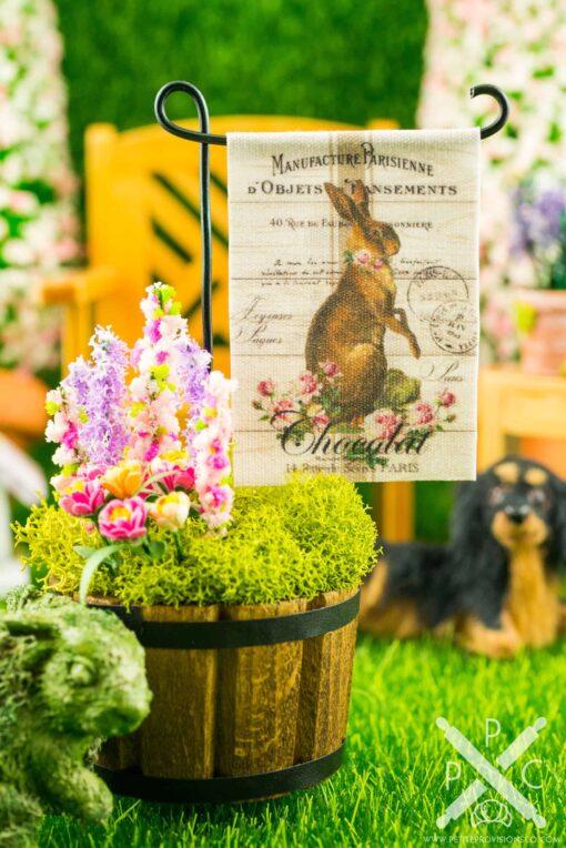 Dollhouse Miniature Chocolat Rabbit Easter Garden Flag