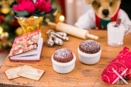 Dollhouse Miniature Chocolate Soufflé for Two - 1:12 Dollhouse Miniature Dessert