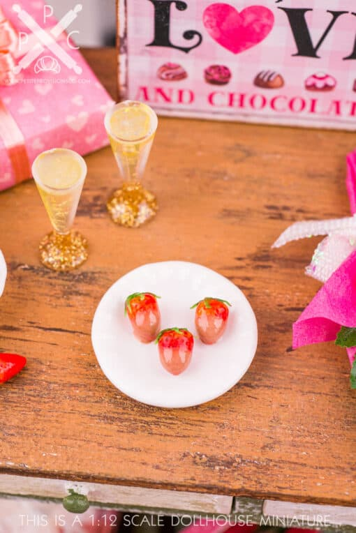 Dollhouse Miniature Chocolate Dipped Strawberries, Champagne and Rose Bouquet Valentine's Day Set - 1:12 Dollhouse Miniature