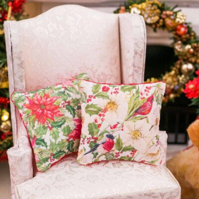 Dollhouse Miniature Christmas Birds Pillow - 1:12 Dollhouse Miniature Christmas Throw Pillow - Christmas Miniatures
