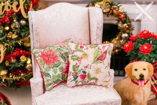 Dollhouse Miniature Christmas Birds Pillow - 1:12 Dollhouse Miniature Christmas Throw Pillow - Christmas Miniatures