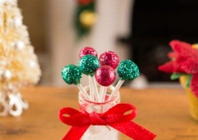 Green and Red Christmas Cake Pops
