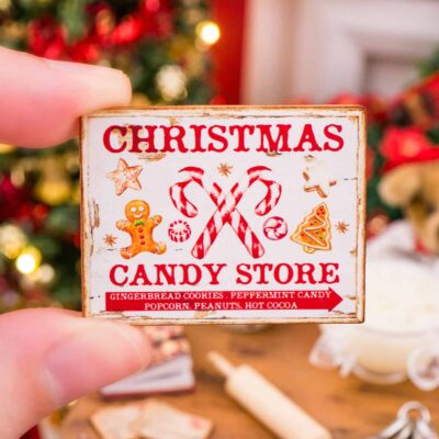 Dollhouse Miniature Christmas Candy Store Sign - 1:12 Dollhouse Miniature Christmas Sign