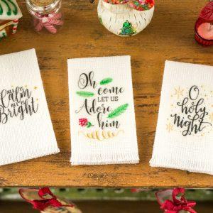 Christmas Carol Tea Towel Trio