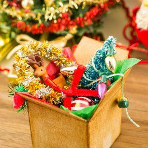 Christmas Decorations in Cardboard Box