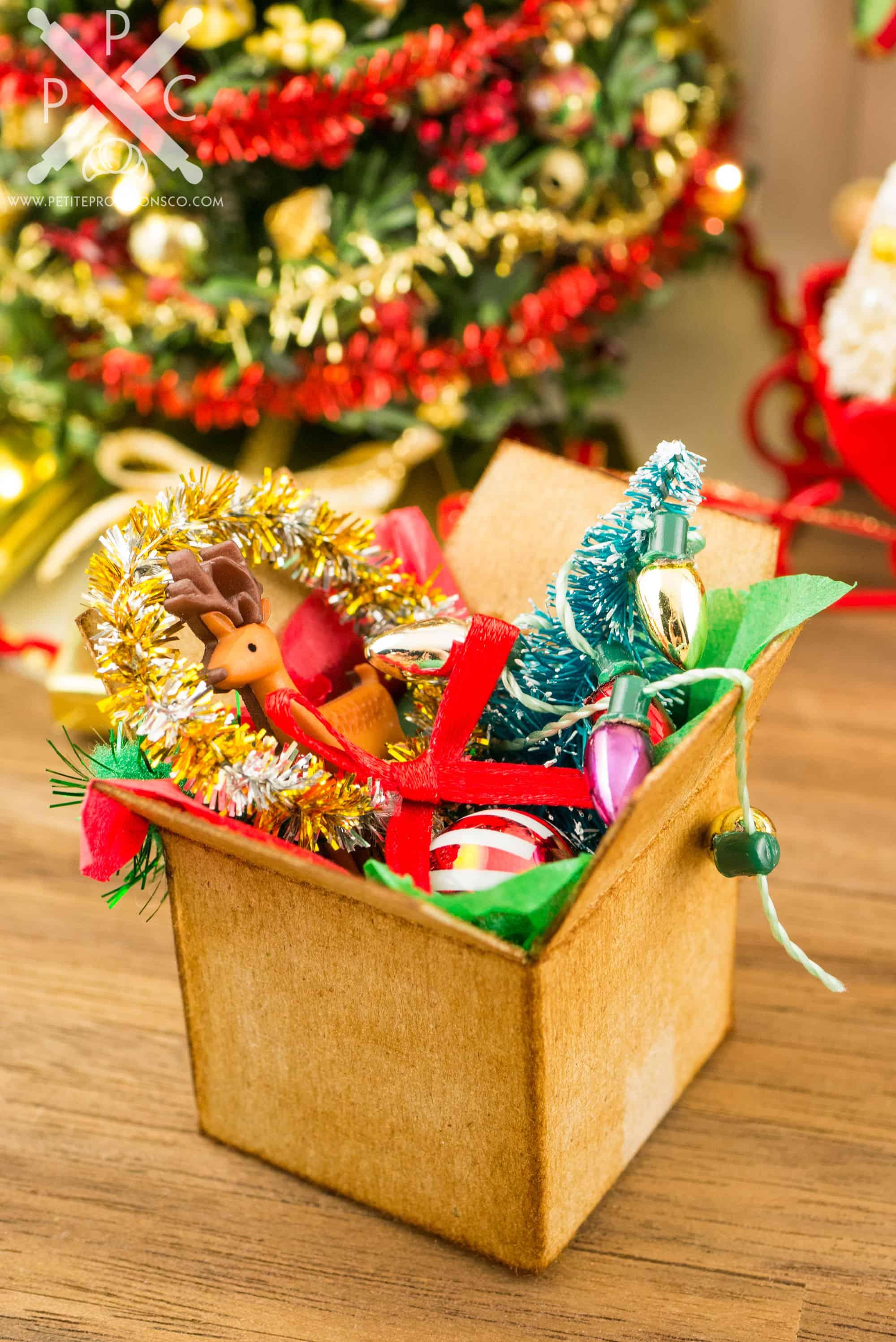 Christmas Dollhouse Decorations.Christmas Decorations In Cardboard Box