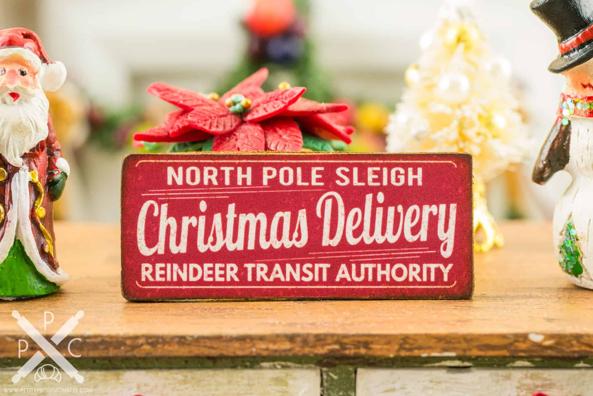 christmas delivery sign - Miniature Christmas Decorations For Dollhouses