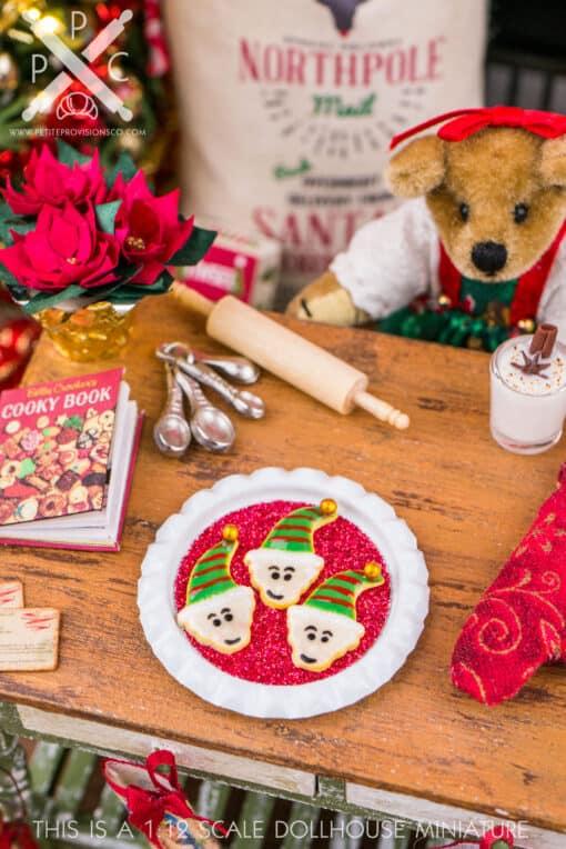 Dollhouse Miniature Christmas Elf Cookies on Tray - 1:12 Dollhouse Miniature Christmas Cookies