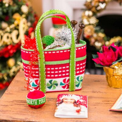 Dollhouse Miniature Christmas Knitting Bag Set - Peppermint - 1:12 Dollhouse Miniature Christmas Decorations