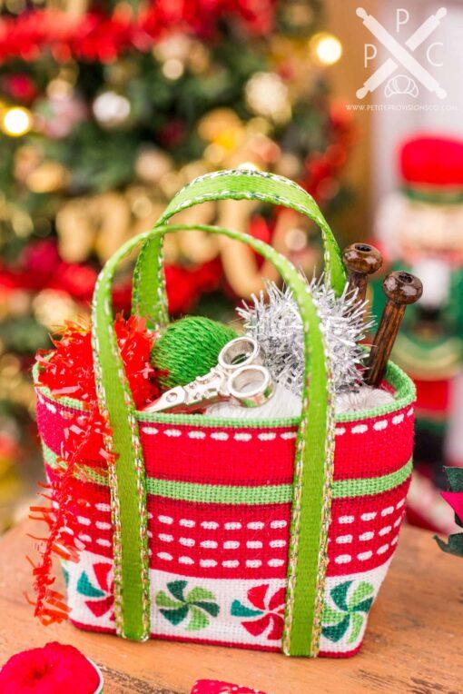 Dollhouse Miniature Christmas Knitting Bag Set - Peppermint - 1:12 Dollhouse Miniature Christmas Decorations