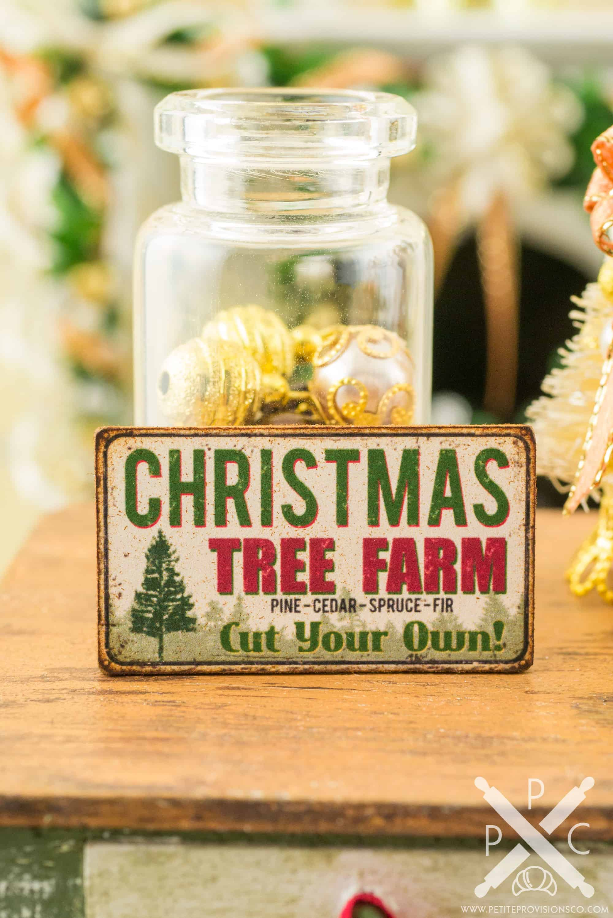 Dollhouse Miniature Christmas Tree Farm Sign Decorative Christmas