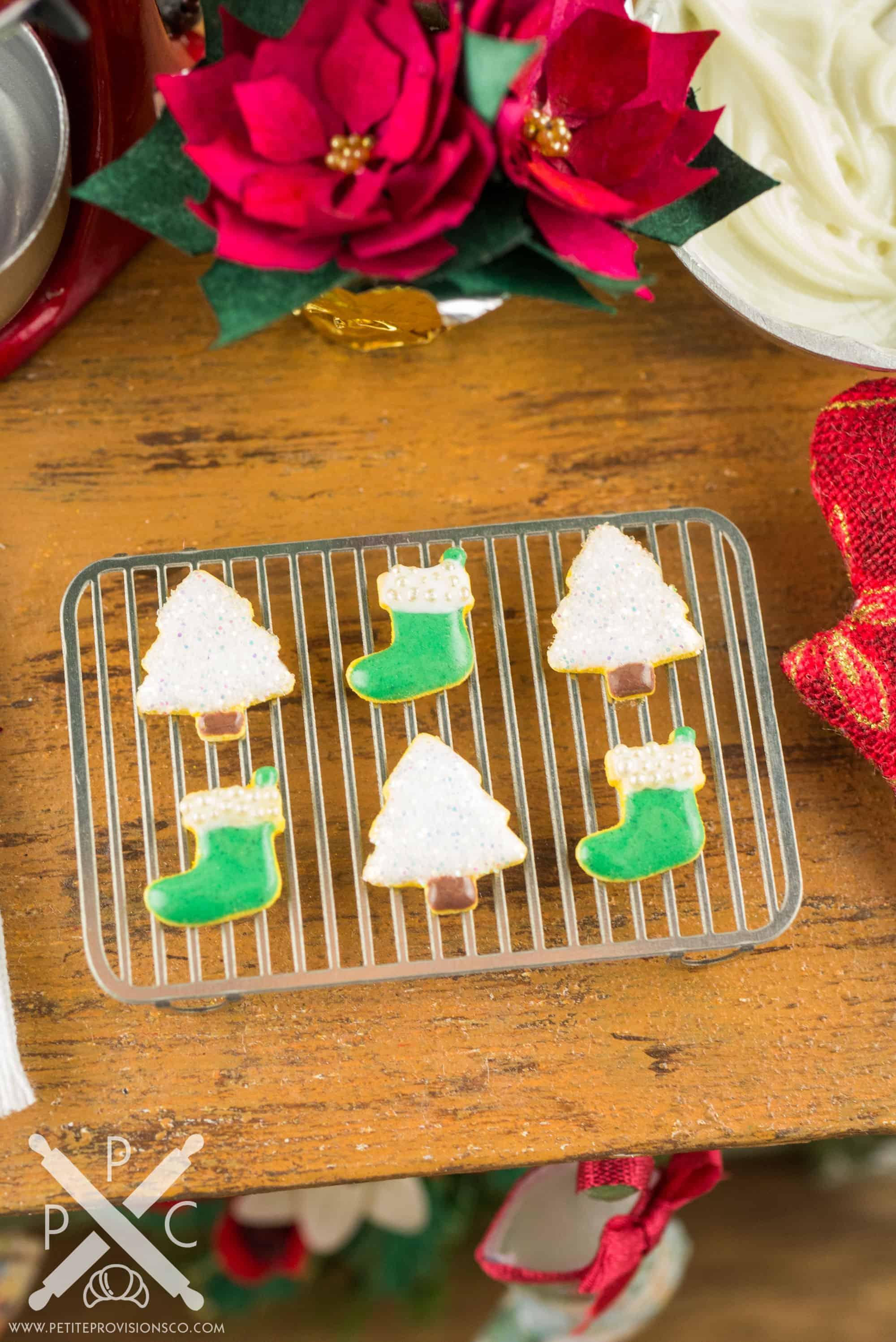 Dollhouse Miniature Christmas Trees And Stockings Cookies Half Dozen 1 12 Dollhouse Miniature The Petite Provisions Co