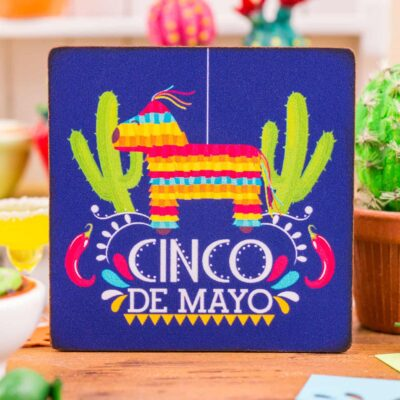 Dollhouse Miniature Cinco De Mayo Piñata Sign - Decorative Cinco De Mayo Sign - 1:12 Dollhouse Miniature Sign