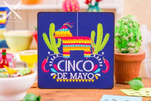 Dollhouse Miniature Cinco De Mayo Piñata Sign - Decorative Cinco De Mayo Sign - 1:12 Dollhouse Miniature Sign