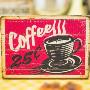 Retro Coffee Sign – Decorative Retro Kitchen Sign – 1:12 Dollhouse Miniature