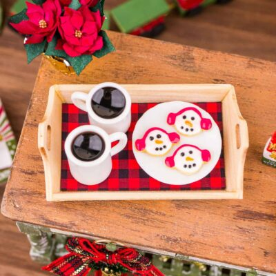 Dollhouse Miniature Coffee for Two and Snowman Cookies on Wood Tray - 1:12 Dollhouse Miniature Christmas Desserts - Christmas Miniatures