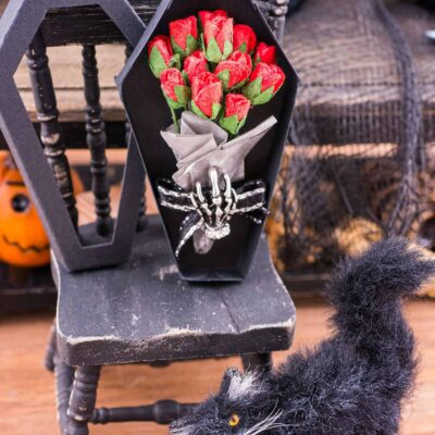 Dollhouse Miniature Halloween Bouquet in Coffin Box