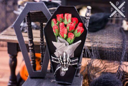 Dollhouse Miniature Halloween Bouquet in Coffin Box
