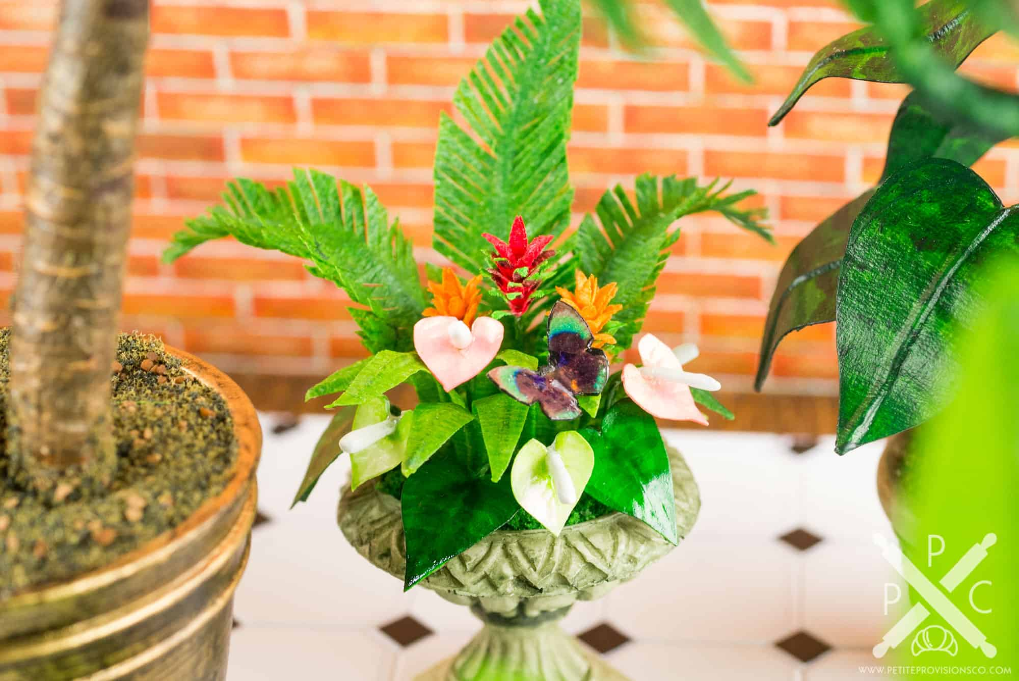 Dollhouse Miniature Conservatory by The Petite Provisions Co. - Anthurium Arrangement