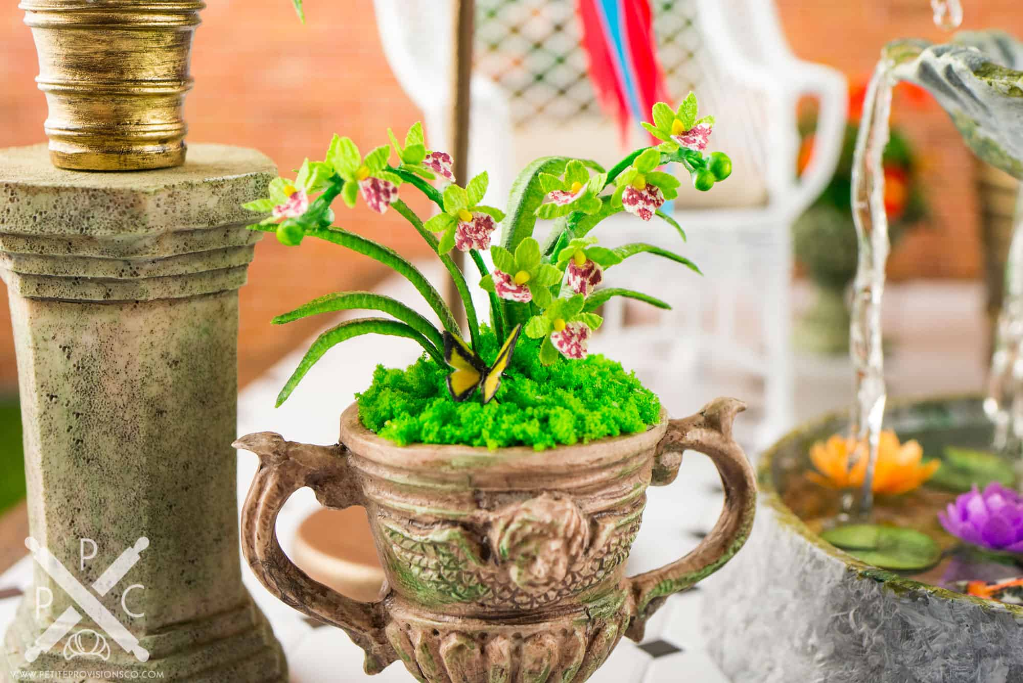 Dollhouse Miniature Conservatory by The Petite Provisions Co. - Cymbidium Orchid Arrangement and Butterfly