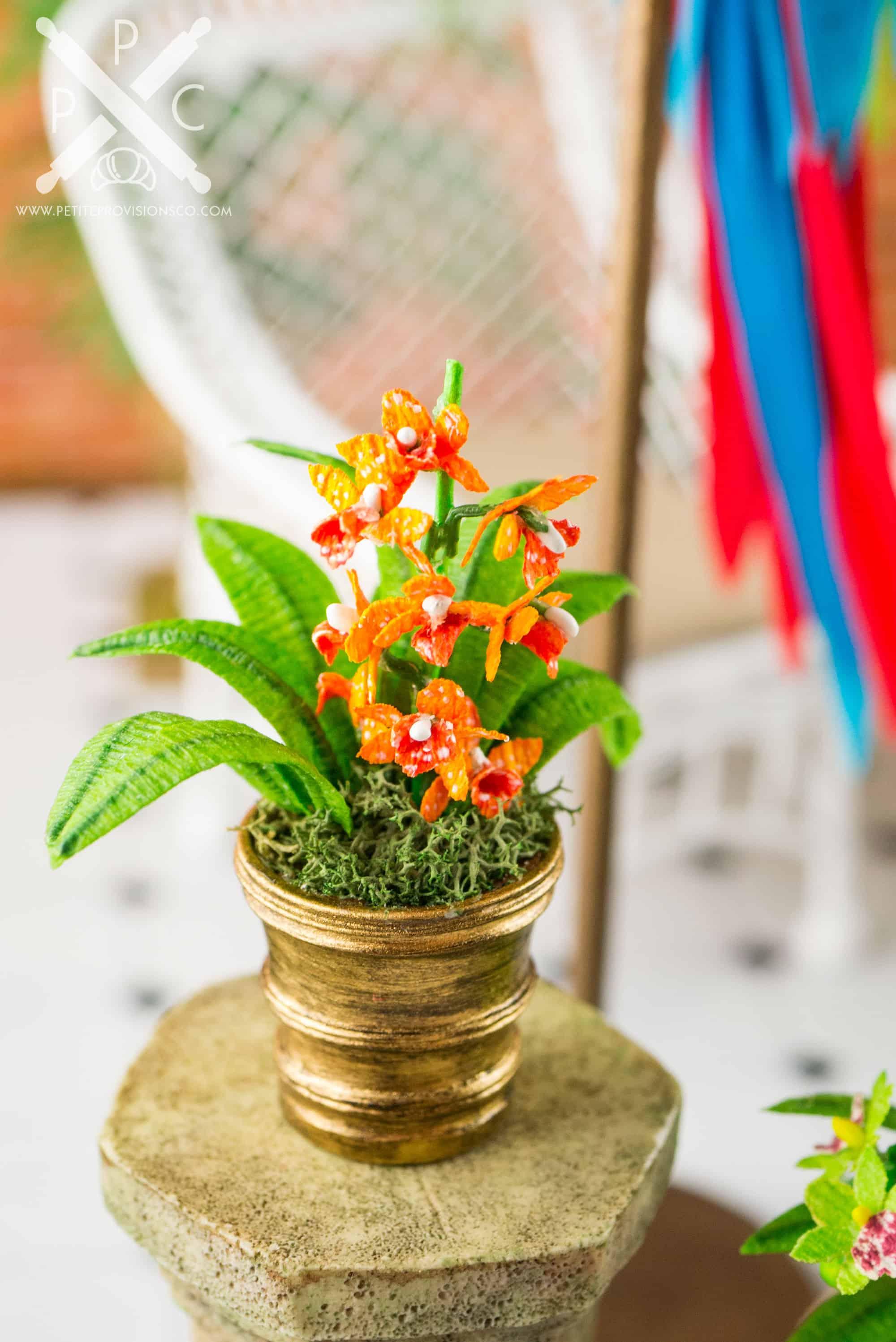 Dollhouse Miniature Conservatory by The Petite Provisions Co. - Cymbidium Orchid Arrangement