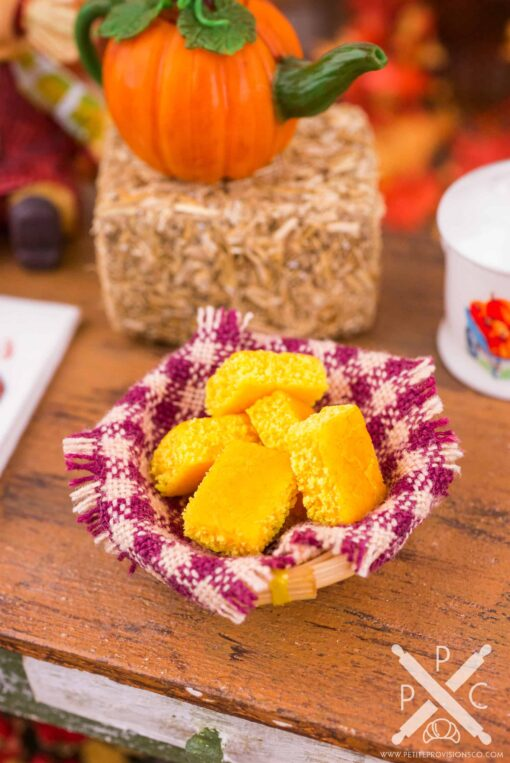Dollhouse Miniature Basket of Cornbread - 1:12 Dollhouse Miniature - Fall Miniatures